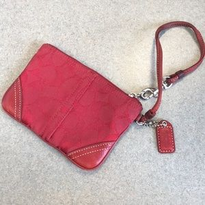 Coach logo red wristlet